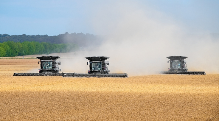 Drei Fendt Ideal Mähdrescher nebeneinander beim Drusch eines Weizenfeldes