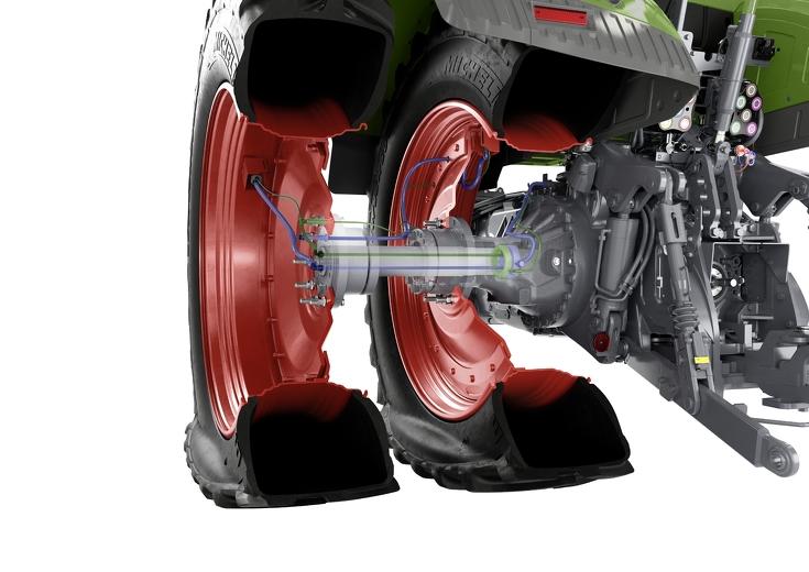 CGI Darstellung Querschnitt von Row Crop mit Doppelbereifung