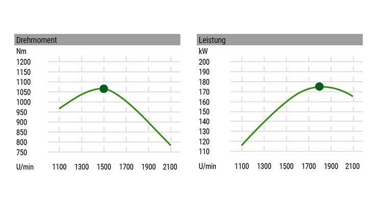 Grafik Motorcharakteristik (Drehmoment, Leistung)