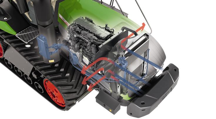 1100 Vario MT CGI mit hydrauflisch angetriebenen Kühllüfter. Mit blauen und roten Pfeilen ist der Hydraulikkreislauf eingezeichnet.