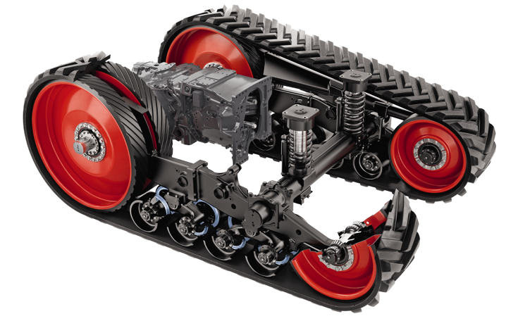 1100 Vario MT Raupenlaufwerk mit gefederten Fahrwerk und einem 3.000 mm Radstand.