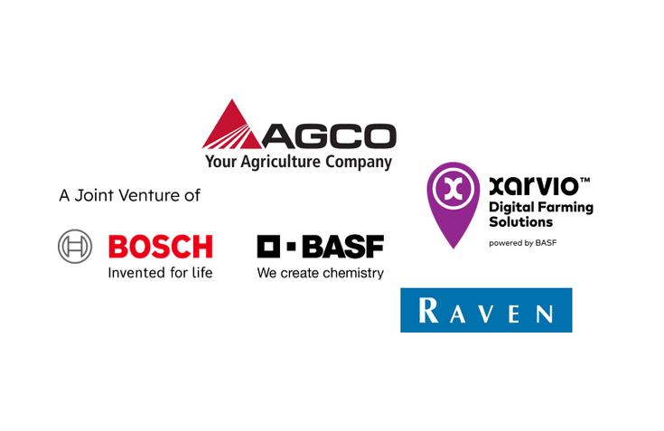 """Logos von """"AGCO"""", """"Xarvio"""", """"Raven"""" , """"Bosch"""" und """"BASF"""""""