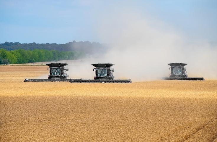 Drei Fendt Ideal Mähdrescher nebeneinander dreschen Weizen im Feld