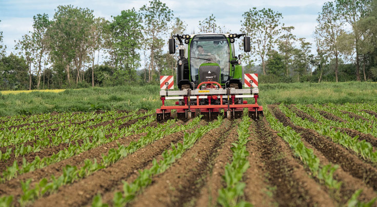 El Fendt 300 Vario trabajando con ruedas de servicio en cultivos especiales.
