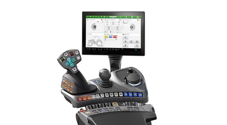 Fendt 900 Varion Profi+-Setting 1, jossa on joystick.