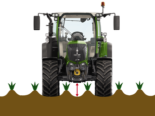Fendt 300 Vario cut-out showing the high ground clearance for plant protection.