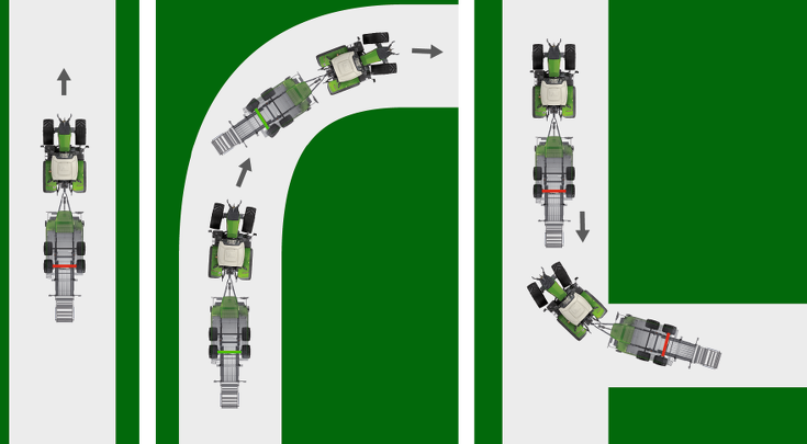 A CGI to show the Fendt automatic steering axle lock.