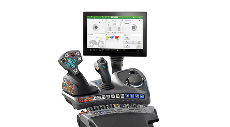 De Profi+ Setting 2 van de Fendt 900 Vario met 3L joystick.