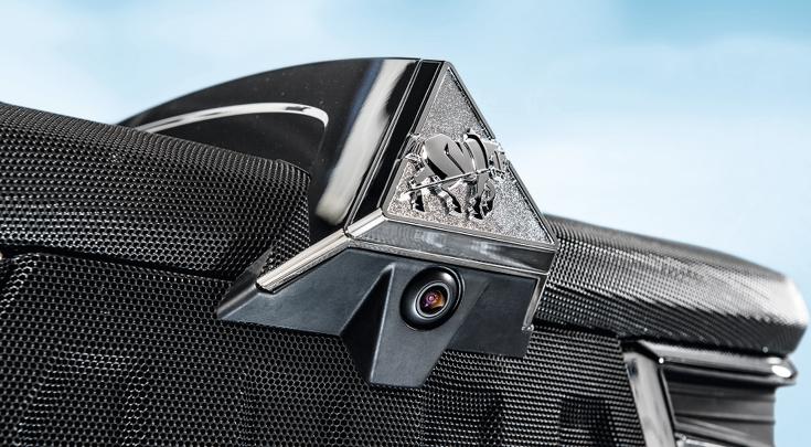 Close-up van de Fendt motorkap camera.