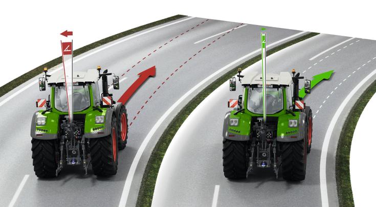 Два трактори Fendt Vario зображують систему стабілізації Fendt Stability Control.