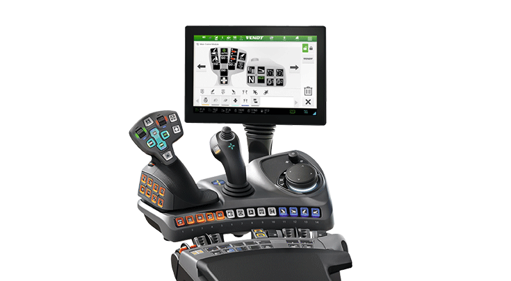 """Power+ Setting 2 of the Fendt 500 Vario with 12"""" terminal and joystick."""