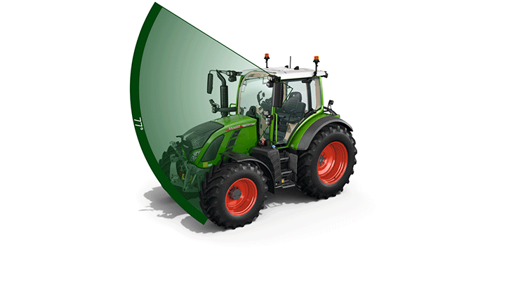 A view of the VisioPlus cab of the Fendt 500 Vario.